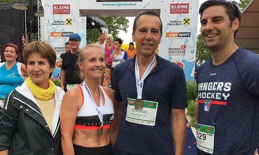 17.08.20 quarto Maratona Woerthersee, Antonia Gössinger, moglie Eveline Steinberger-Kern, Christian Kern, Martin Quendler