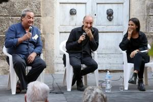 Da sinistra, l'editore Luca Sossella, Armando Punzo e Rossella Menna