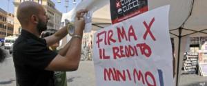 Raccolta firme per una  proposta di legge di iniziativa popolare per l'istituzione del reddito minimo garantito