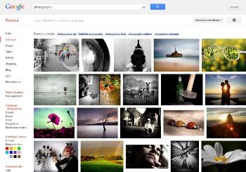 """Screenshot della prima pagina di risultati di Google Images per la parola """"photography"""""""