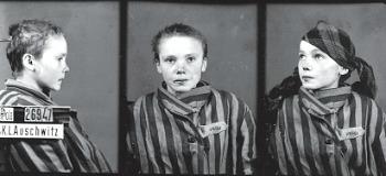 """Czeslawa Kwoka (1928-1943), internata nel dicembre del 1942. Le fu as- segnato il numero 26947 e la sigla """"PPole"""" (prigioniera politica polacca). Museo di  Auschwitz, foto di W. Brasse"""