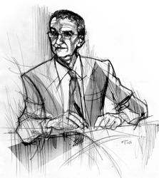 Mario Hubler nel disegno di Francesco Ardizzone