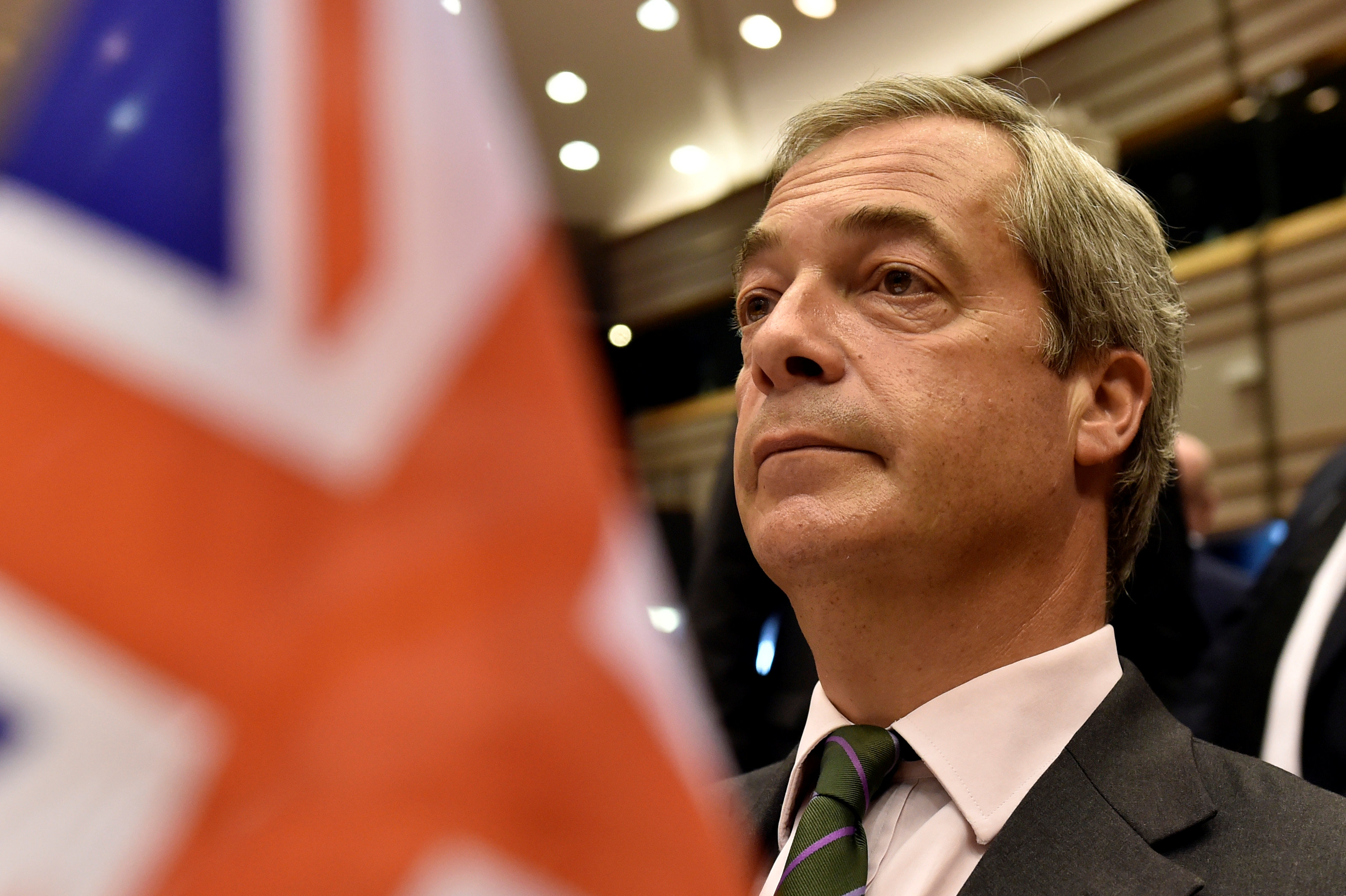 "Farage, the leader of the UKIP, attends a plenary session at the European Parliament on the outcome of the ""Brexit"" in Brussels"