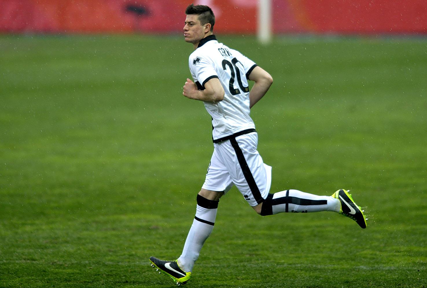 Alberto Cerri all'esordio in Serie A, con la maglia del Parma