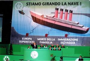 La nave di Bossi incombe sull'intervento di Berlusconi