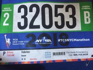 bib pettorale maratona NYC 2018 piccolo