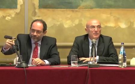 L'ex pm e l'imprenditore Di Lorenzo in conferenza stampa