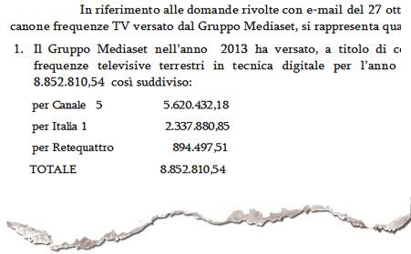 La lettera del Ministero dello Sviluppo economico a Repubblica sul canone Mediaset
