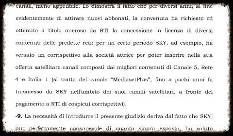 L'atto di citazione contro Sky cita Mediaset Plus
