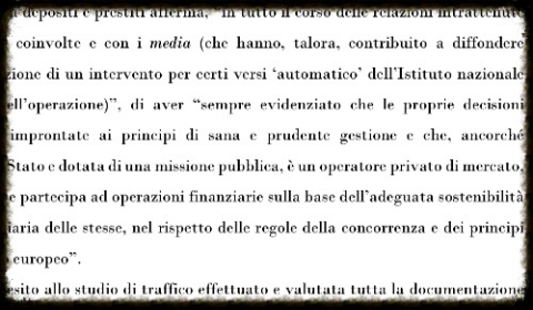 La posizione di Cassa Depositi nel documento della Corte dei conti
