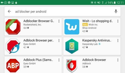Alcune applicazioni ad blocker per cellulari Android