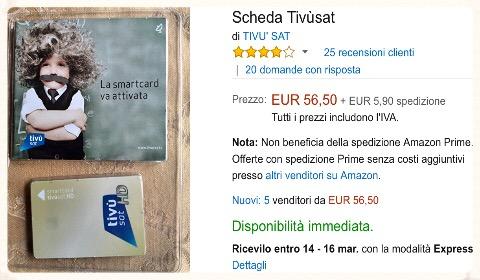 Scheda TivùSat su Amazon a 56,5 euro più spedizione