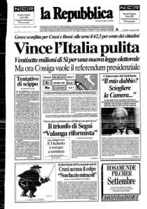 Repubblica del 11-06-1991 pagina 1.