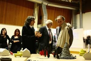 Enzo Cucchi e Maurizio Finotto durante la preparazione del corto