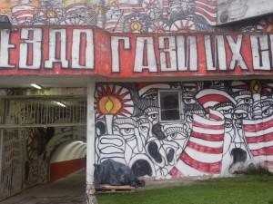 """Uno dei tanti murales che caratterizzano  e """"colorano""""l'esterno del Marakana"""