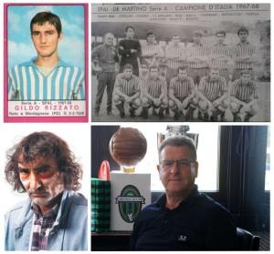 """In alto a sinistra la figurina """"incriminata""""; in alto a destra una formazione delle riserve della Spal 1967-68 con Vendrame e Rizzato; in basso a sinistra Vendrame istrione anche fuori dal campo; in basso a destra Rizzato attuale presidente dell'Abano Calcio"""