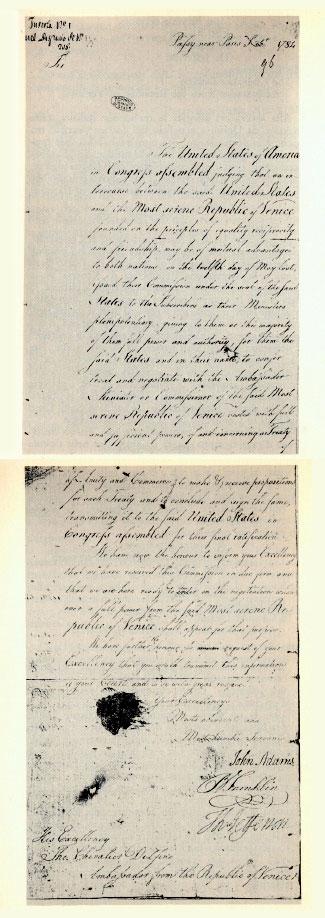 Lettera di John Adams, Benjamin Franklin, Thomas Jefferson per la Repubblica Veneta