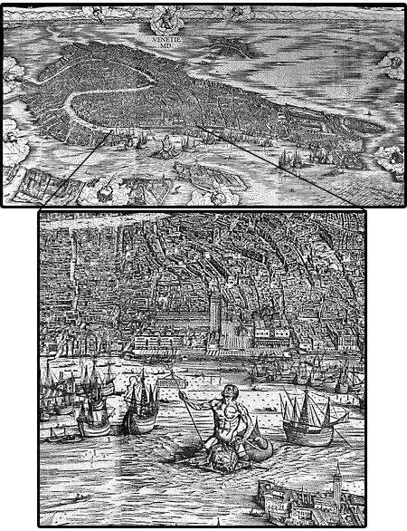 """La """"Veduta di Venezia MD"""" di Jacopo de' Barbari e un particolare ingrandito"""