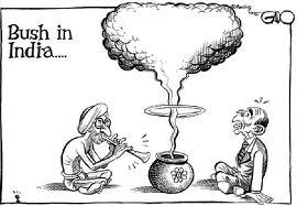 Vignetta in occasione della visita di George Bush per l'accordo nucleare tra india e USA.