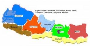 Mappa federale a 8 Stati divisi gegraficamente