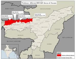 Mappa dell'Assam e di Bodoland