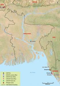La mappa dei campi di assistenza per i Rohingya dell'organismo per i diritti umani delle Nazioni Unite