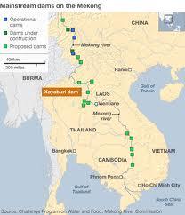 Mappa delle dighe fatte o previste sul Mekong (fonte Bbc online)