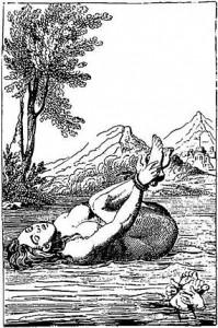 Antico dipinto europeo di una presunta strega alla prova dell'acqua. Se affogava era considerata innocente