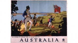 Un manifesto oggi al british museum dello sbarco di Capitan Cook a Botany Bay nel 1770. Nel 1788 giunsero i primi prigionieri inglesi per colonizzare il nuovo Continente.