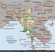 Mappa birmana, con l'Arakan è al confine col Bangladesh e Lhasa nel Tibet cinese