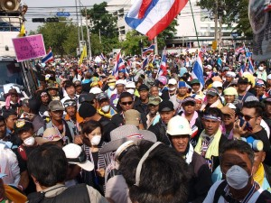 Foto di Chalotorn Choosri durante le manifestazioni antigovernative di dicembre