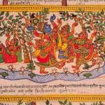 Dipinto del dio Krishna con le pastorelle, o Gopi