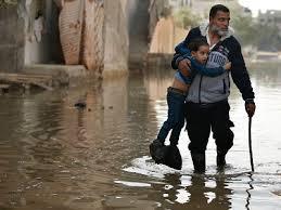 Un'immagine dall'alluvione di Gaza