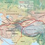 Una mappa della Via della Seta e la dislocazione centrale dell'Afghanistan