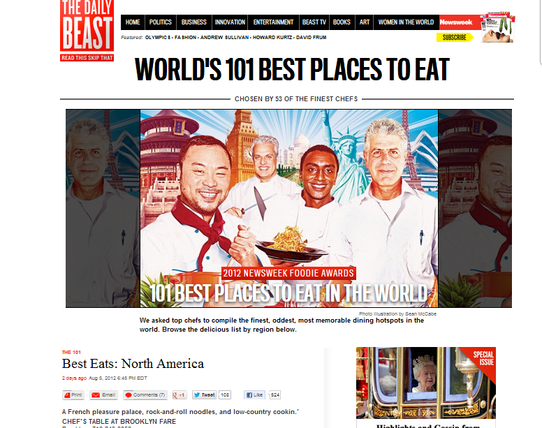 101 Best Restaurants in the World - The Daily Beast