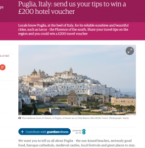 Puglia  Italy  send us your travel tips to win a £200 hotel voucher   Travel   The Guardian