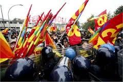 La protesta durante il vertice Ue