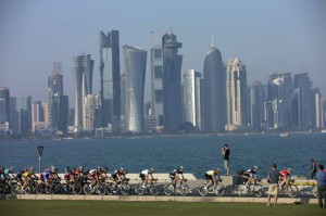 Una gara ciclistica a Doha
