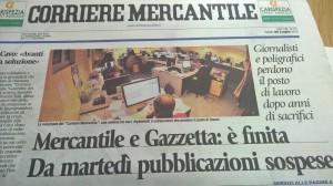 La prima pagina del Corriere Mercantile con l'annuncio della chiusura