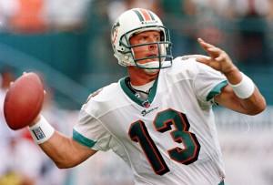 Miami Dolphins quarterback Dan Marino gets ready t
