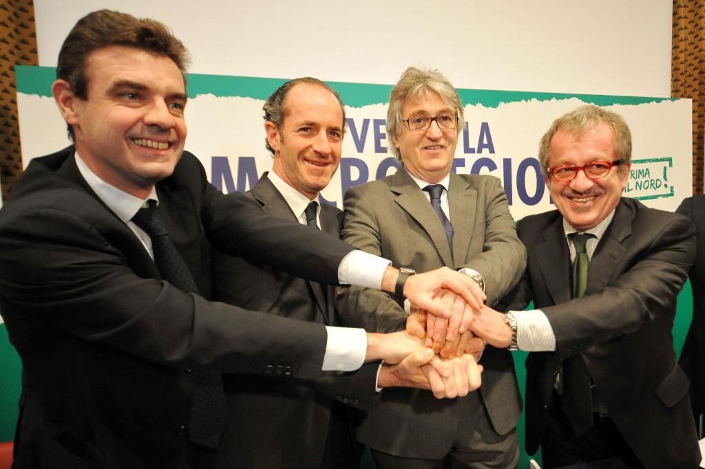 Roberto Cota, Presidente regione Piemonte, Luca Zaia, Presidente regione Veneto, Renzo Tondo, Presidente regione Friuli Venezia Giulia, e Roberto Maroni