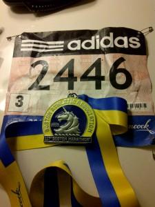 Pettorale e medaglia di Boston 2013