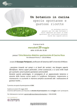 """Un botanico in cucina"" - Programma"
