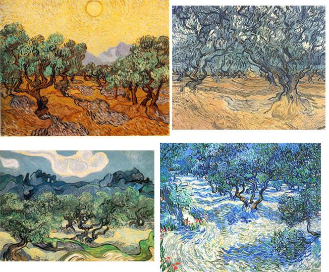 Serie di dipinti di Van Gogh ispirati al paesaggio degli uliveti in Provenza