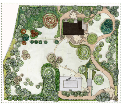 Parco di Villa Gallizia, planimetria - Disegno di proprietà dello Studio Pozzi