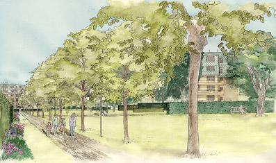 Verde condiviso, prospettiva - Disegno dello Studio Pozzi