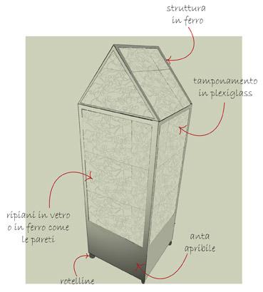 Titti, serra da balcone - Disegno di proprietà dello Studio Pozzi