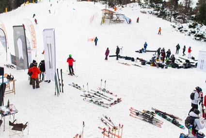 Cortina, campobase Faloria, durante lo scorso weekend di moda e sport (foto Martina De Biasi)