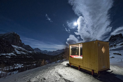 Rifugio Col Gallina, Cortina, esterno della Starlight room Dolomites 360