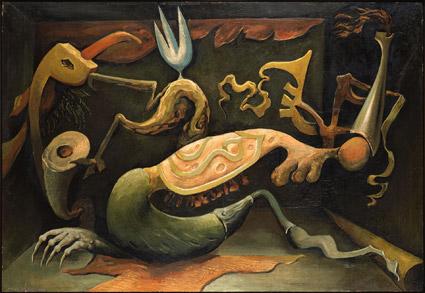 Kurt Seligmann La deuxie?me main de Nosferatu 1938 olio su compensato 85.5 x 125 cm Aargauer Kunsthaus, Aarau. Deposito Fondazione Gottfried Keller, Ufficio federale della cultura